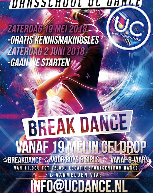 Start Breakdance les locatie Sportcentrum Harks zaterdag 19 mei a.s.